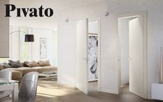 Hinged wooden door Pivato Inversa collection. Designed fot those who need to open a door by pushing or pulling, in full co-planarity toward the corridor.