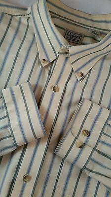 LL Bean Shirt Men Size: XL Striped Long Sleeve Button 100% Cotton, Multi-Color