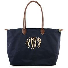 "Monogrammed Large ""Longchamp"" Tote Bag-Navy"