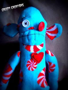 Peppermint sock monkey Island of Misfit Toys by Flamethrowerluv13, $19.99