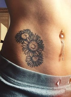 Sunflowers Ink - http://www.tattooideas1.org/placement/hip/sunflowers-ink/