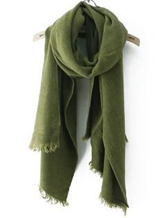 Frayed Army Green Scarf 40% Off 1st Order!