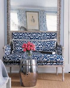 Love the sofa blue and white ikat