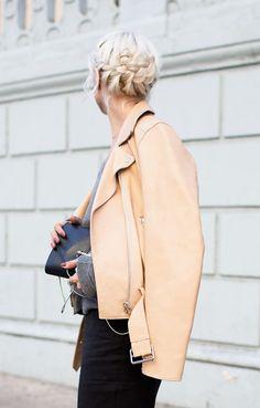 soft beige leather: nude leather jacket