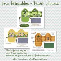 Paper Crafts Freebies - little houses, a yellow house, a birdhouse and a log cabin! #freebies