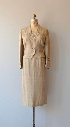 Sand and Silk suit vintage 1950s suit 50s silk by DearGolden