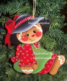 Handpainted  Christmas Gingerbread  Cookie by stephskeepsakes, $8.50