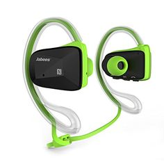 Introducing Jabees LATBsportGRN BSport Bluetooth CSR V41 Sweatproof Sports Stereo Headphones with NFCATPX Green. Great Product and follow us to get more updates!