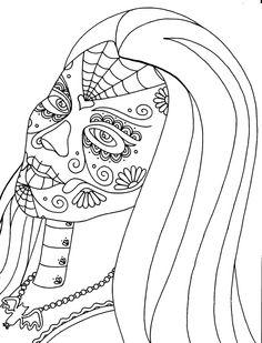 Dia De Los Muertos Coloring Pages | Yucca Flats, N.M.: Wenchkin's Coloring Pages - Dia de los Lily Munster