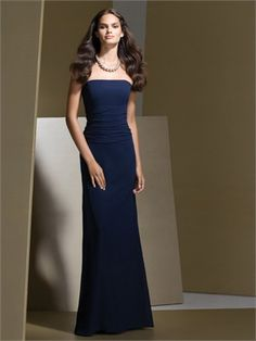 Dark Navy Chiffon Sheath Strapless Floor-length Bridesmaid Dress from MyBridesmaid creates a perfect fit for the bridesmaid and makes them look elegant yet charming. Dessy Bridesmaid Dresses, Bridal Dresses, Bridesmaid Ideas, Green Bridesmaids, Wedding Bridesmaids, Dresser, Evening Dresses, Formal Dresses, Prom Dresses Online