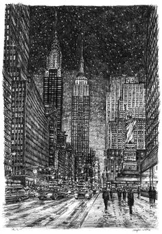 Imaginary drawing of New York in winter - Stephen Wiltshire MBE