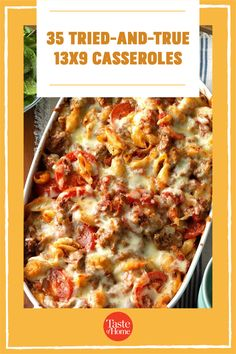 These trustworthy 13x9 casseroles will cook perfectly. From traditional classics to kid-friendly favorites, bank on these recipes for reliable meals. Taste Of Home, Cooking Ideas, Casserole Recipes, Lasagna, Casseroles, Main Dishes, Dinner Recipes, Easy Meals, Kid