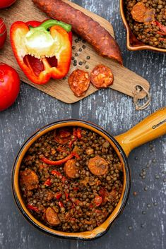 Lentilles vertes au chorizo, poivron et tomates – Amandine Cooking Green lentils with chorizo, pepper and tomatoes – Amandine Cooking Chorizo, Healthy Breakfast Recipes, Healthy Cooking, Healthy Recipes, Lentil Loaf Vegan, Cooking Green Lentils, Vegan Meatloaf, How To Cook Greens, Healthy Family Dinners