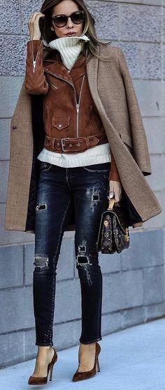 #winter #fashion /  Camel Coat + Brown Jacket + White Turtleneck + Ripped Skinny Jeans