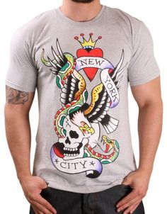 45b2a0bdf98e Ed Hardy By Christian Audigier Men s Crew Neck New York T-Shirt Tee Gray  Size