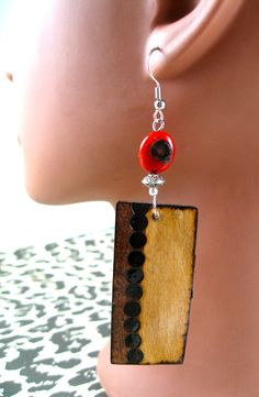 Red Coral Rectangle Spotted Tribe Earrings by JEHAANS on Etsy, $20.00