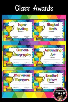 Celebrate student achievement in your class with these Class Awards. These are perfect for at the end of the year or throughout! 27 Class Awards included such as; 1) Wonderful Writing 2) Radical Reading 3) Super Spelling 4) Magical Math 5) Super Science © Tales From Miss D