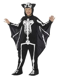 Buy your bat skeleton costume for your little kids from the Halloween Spot. It is a black coloured kid's costume with Hooded Bodysuit and Attached Wings.