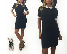 ✿ Darling 1980s little jet black dress with Peter Pan collar and cuffs. This classic black and white dress would also make a perfect Wednesday Addams costume dress! Features front bust line and waist darts for a super contoured fit. Dress is made with a comfortable stretchy fabric that slips on and is mid thigh length with three quarter fitted sleeves. There are two small button fastenings at nape of neck. If youre looking for a sexy and simple black and white dress, this is it! Excellent…