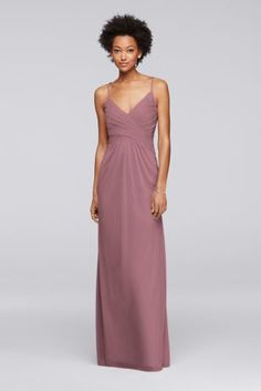 """Adjustable spaghetti straps crisscross in the back of this mesh long bridesmaid dress with a waist-flattering ruched bodice.  4"""" extra length  Polyester  Back zipper; fully lined  Dry clean  Imported  Also available in regular sizes"""
