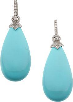 Earrings, Turquoise, Diamond, White Gold Earrings.