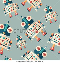 Robot assistant flat icon seamless pattern.