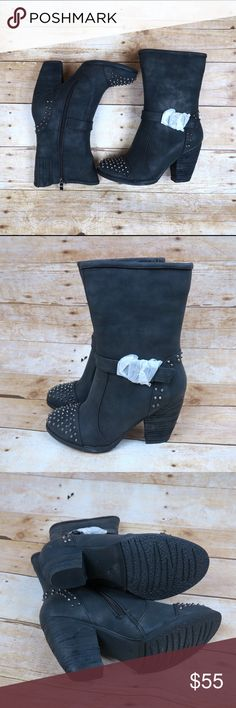 Black studded chunky heel boots Brand: Luichiny Size: 8 Color: Black  New(with box)   Buckle strap detail Faux shearling lining (inside soles)  Side zipper Edgy Studded  Oval toe Chunky heel Heel height : about 3in Circumference: about 12in Shaft: about 9in Shoes Heeled Boots
