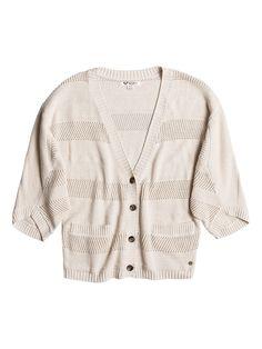 Fluffy Snow - Roxy Cardigan mit Fledermausärmeln für Frauen  Fluffy Snow Sweater von Roxy. Die Eigenschaften dieses Produkts sind: Cardigan mit Fledermausärmeln, 3/4 Ärmel und Jersey aus weicher Baumwoll-Acryl-Mischung. Dieses Produkt besteht aus: 60% Baumwolle, 40% Acryl.  Merkmale:  Cardigan mit Fledermausärmeln, 3/4 Ärmel, Jersey aus weicher Baumwoll-Acryl-Mischung, Extra weich dank speziell...