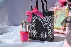 Damask bag with poodle and pink ribbon for any by steppnout, $2.50