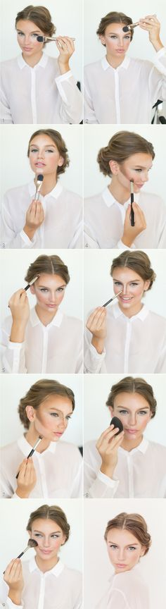 Contouring  Highlight Tutorial #makeup #beauty #countouring  - Great quick step by step reminder.