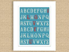 I Love You Alphabet Nursery Print for Baby or Child - Red and Turquoise