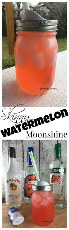 Skinny Watermelon Moonshine Recipe ~ One of the best skinny Watermelon moonshine recipe's you will ever taste. It's a mix of Pink Lemonade, Watermelon Vodka, Triple Sec, and Malibu Rum! Cocktail Drinks, Fun Drinks, Yummy Drinks, Cocktail Recipes, Malibu Drinks, Best Vodka Drinks, Skinny Alcoholic Drinks, Vodka Mixed Drinks, Party Drinks Alcohol