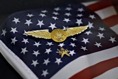 This set of flight attendant wings and union pin were taken from the wreckage of American Airlines Flight 77 in the Pentagon. (G.J. McCarthy/Dallas Morning News) #neverforget
