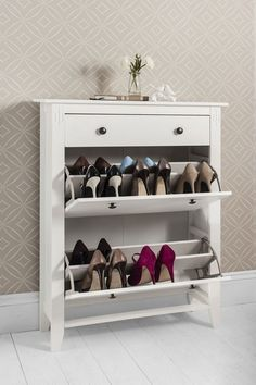 Shoe Storage Wood Cabinet Deluxe with Storage Drawer Cotswold in White in Home Furniture u0026 DIYStorage SolutionsShoe Storage & 30 Fabulous Hallway Storage Ideas | Pinterest | Storage Shoe rack ...
