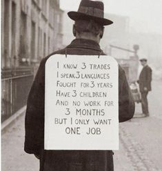 Looking for employment in 1930