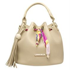Beige bucket bag with scarf print tie detail. Gold Accessories, Fashion Accessories, Costume Jewelry, Bucket Bag, Purses And Bags, Latest Fashion, Beige, Shoulder Bag, Handbags