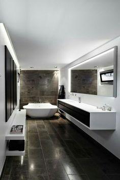 two tone narrow bathroom