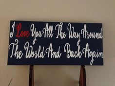 This beautiful wood stained sign measures 12 tall by 24 long and comes with the YOUR CHOICE OF QUOTE hand-painted in white wording. Colors and