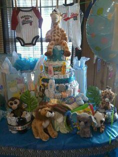 Safari baby shower diaper cake with onesie tiers