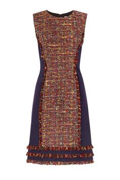 DVF Jacey dress is a chic shift in a colorful tweed with hints of metallic thread. Pair with opaque tights and a bootie. Day Dresses, Casual Dresses, Short Dresses, Fashion Dresses, Classy Outfits, Beautiful Outfits, Casual Outfits, Chanel Style Jacket, Mode Chanel