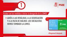#TumbamosLaLOMCE porque los socialistas no vamos a permitir la segregación y la discriminación en las aulas. #SeguimosTrabajando #PSOE
