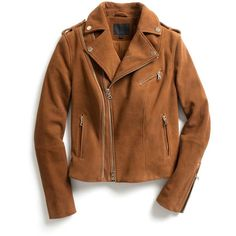 Exclusive for Intermix for Intermix Goat Suede Moto Jacket ($419) ❤ liked on Polyvore featuring outerwear, jackets, coats, tops, brown, brown jacket, motorcycle jacket, brown biker jacket, moto zip jacket and cognac jacket