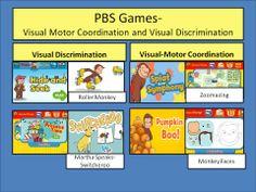 visual motor coordination and visual discrimination games at PBS kids