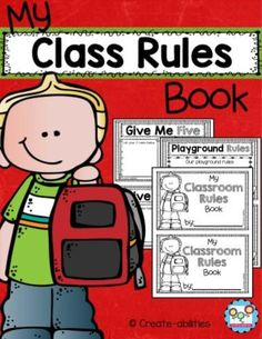 This Classroom Rules Little Book is a fun and unique way to help your students learn your classroom and school rules. There are 42 different pages in regular and EDITABLE forms. That means you can either write or type directly onto the pages! Classroom Rules, Classroom Organization, Classroom Management, Behavior Management, Library Rules, Library Labels, Beginning Of School, First Day Of School, School Days