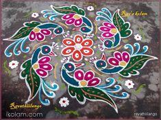 Rangoli 7 to 4 intermediate dots.: Rev's margazhi kolam by revathiilango Indian Rangoli Designs, Rangoli Designs Latest, Rangoli Designs Flower, Rangoli Border Designs, Small Rangoli Design, Rangoli Borders, Rangoli Ideas, Rangoli Designs Images, Rangoli Designs With Dots