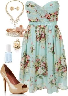 """Wear those nude pumps with the """"Sunday brunch"""" pink dress or the """"hot date night"""" dress. Or to dress up blue floral printed dress for a girls night out"""