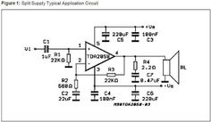 The post explains how to build a simple yet powerful 32 watt amplifier circuit using a single chip and with a handful of resistors and capacitors. By: Dhrubajyoti Biswas […] Electronics Projects For Beginners, First Transistor, Power Supply Design, Electrical Circuit Diagram, Speaker Plans, Power Supply Circuit, Electronic Circuit Projects, Electronic Schematics, Audio Design