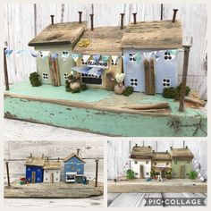 Personalised Gift Driftwood Art Little Wooden houses New