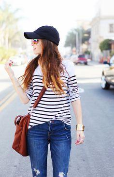 I always grab a baseball cap for rainy days!  This looks like a great casual friday: striped tee, baseball cap, aviators