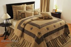 Like us on Facebook! https://www.facebook.com/pages/Allysons-Place/122777051071722      Burlap Star Bedding Quilt  #primitivedecor #countrydecor